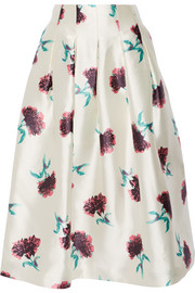 Floral-print silk-satin skirt