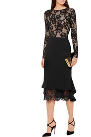 Oscar de la Renta Crocheted lace-trimmed wool skirt