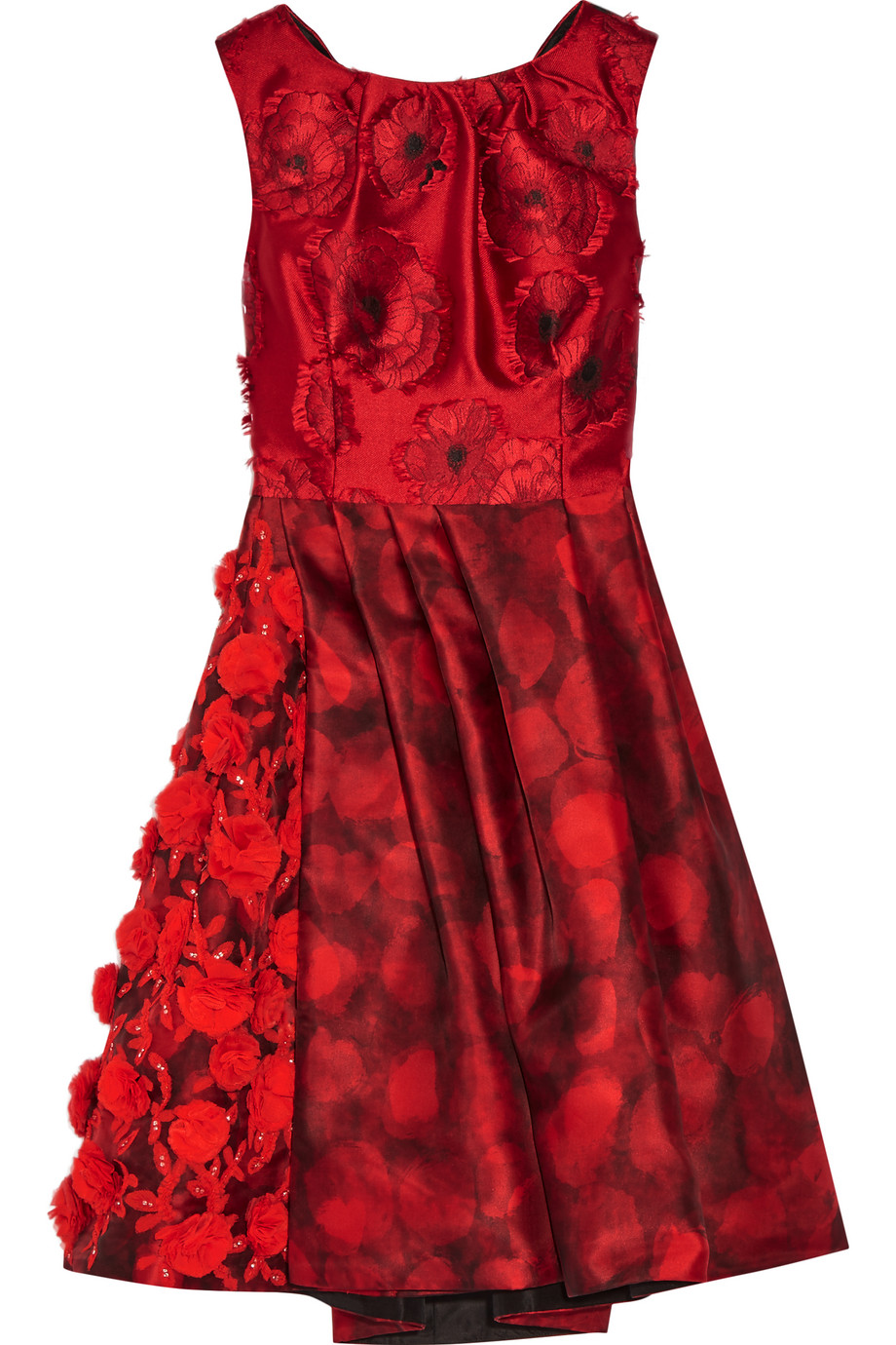 Oscar De La Renta Embellished Fil Coupé and Printed Silk-Gazar Dress, Claret/Red, Women's - Printed, Size: 10