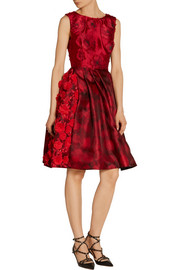 Oscar de la Renta Embellished fil coupé and printed silk-gazar dress