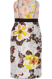 Grosgrain-trimmed floral-jacquard dress