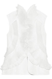 Organza and lace-trimmed silk-faille vest