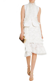 Oscar de la Renta Organza and lace-trimmed silk-faille vest