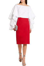 Oscar de la Renta Cotton-blend pencil skirt