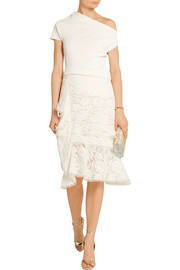 Oscar de la Renta Ruffled cotton-blend lace skirt