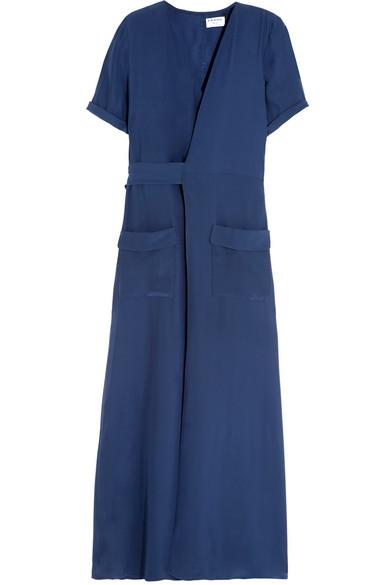 Frame - Le Wrap Silk-charmeuse Maxi Dress - Storm blue
