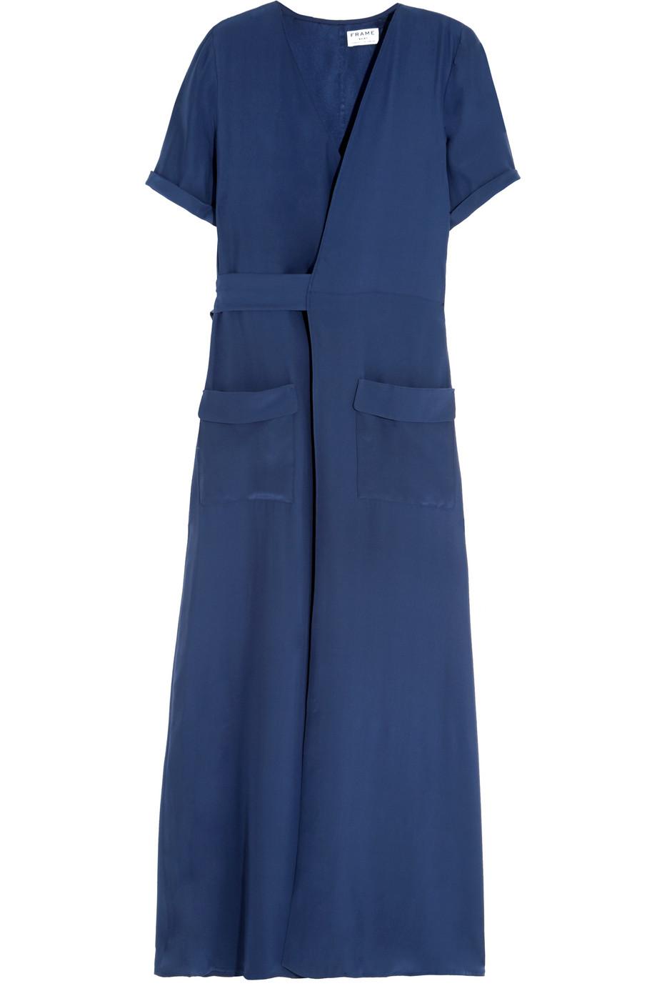 Le Wrap Silk-Charmeuse Maxi Dress, Storm Blue, Women's, Size: XS