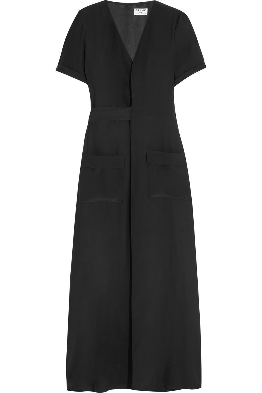 Le Wrap Silk-Charmeuse Maxi Dress, Black, Women's, Size: XS
