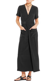 Frame Denim Le Wrap silk-charmeuse maxi dress