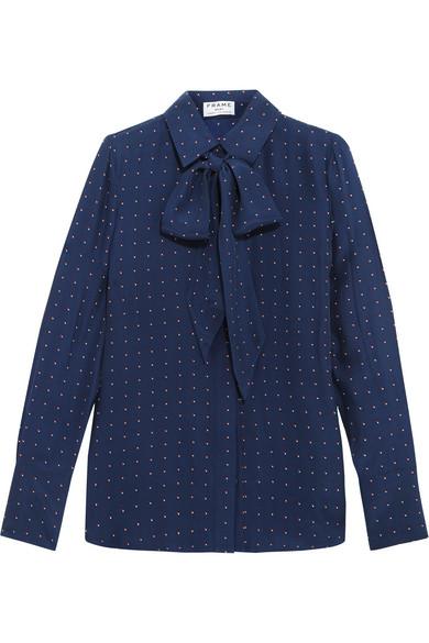Frame - Le Scarf Pussy-bow Printed Silk-charmeuse Shirt - Navy
