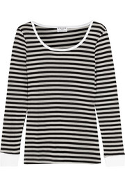 Striped stretch cotton-blend top