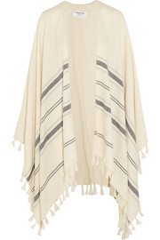 Le Poncho fringed striped alpaca cape