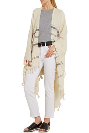 Frame Denim Le Poncho fringed striped alpaca cape