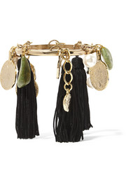 Gold-plated, tasseled silk, faux pearl and stone bracelet