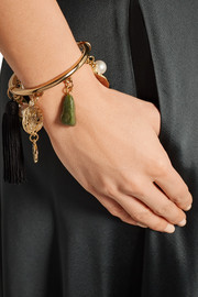 Oscar de la Renta Gold-plated, tasseled silk, faux pearl and stone bracelet