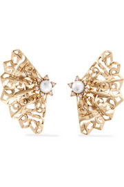 Oscar de la Renta Gold-plated, crystal and faux pearl clip earrings