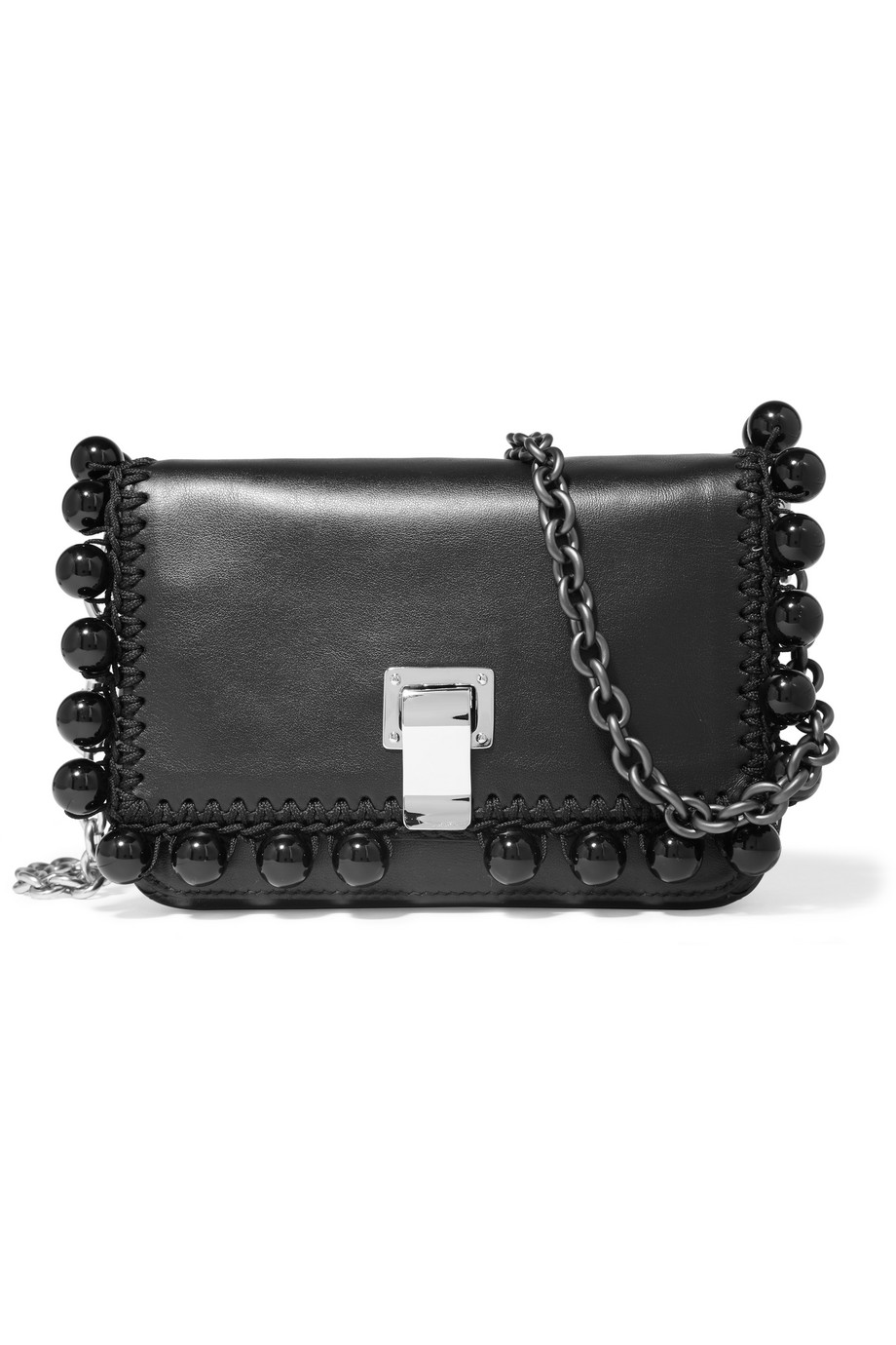 Proenza Schouler Courier Extra Small Embellished Leather Shoulder Bag, Black, Women's, Size: XS