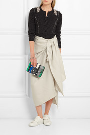 Proenza Schouler Hava paneled watersnake, leather and suede clutch
