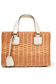 Manray small textured leather-trimmed rattan tote