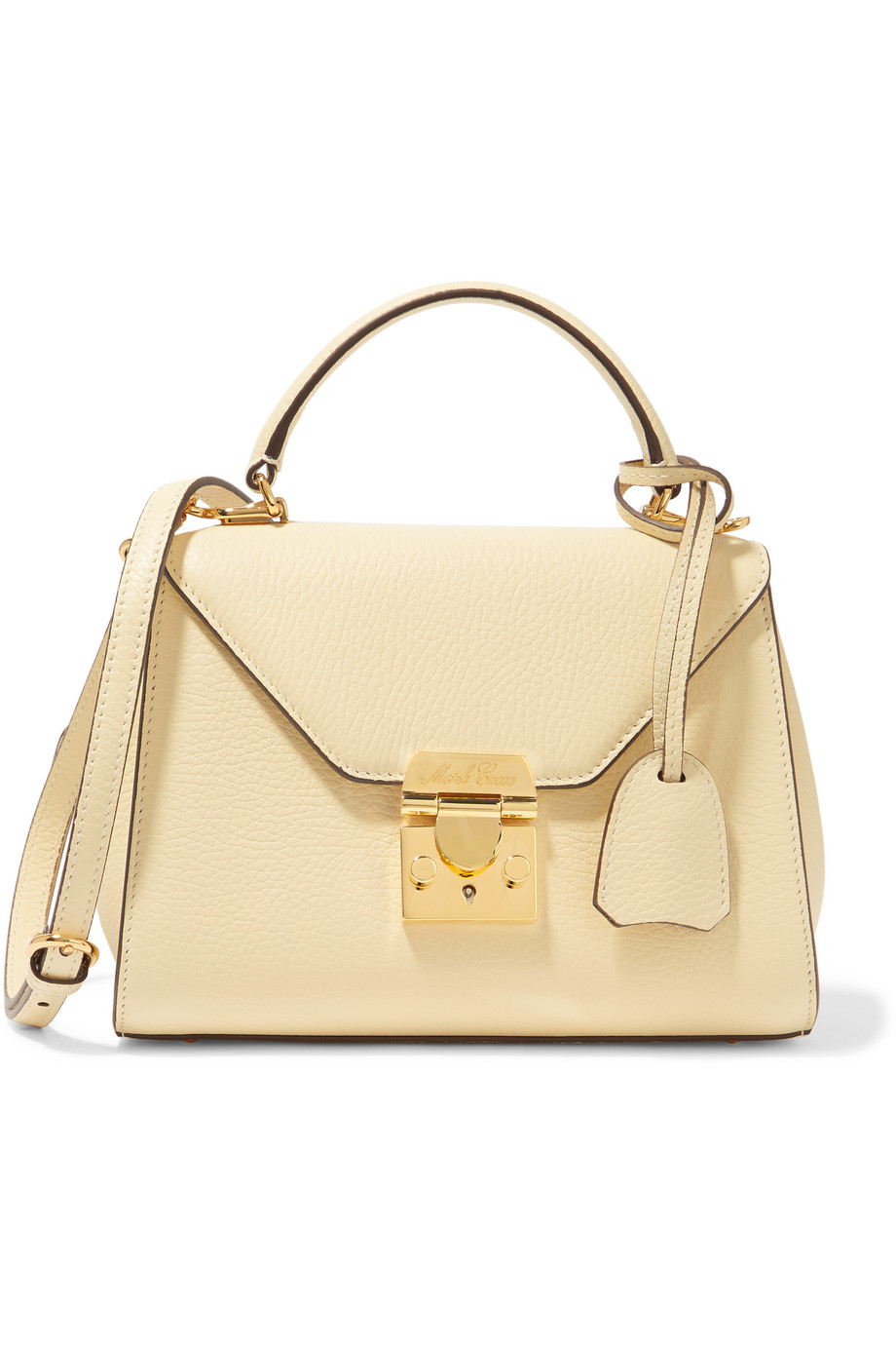 Mark Cross Hadley Baby Textured-Leather Shoulder Bag, Cream, Women's