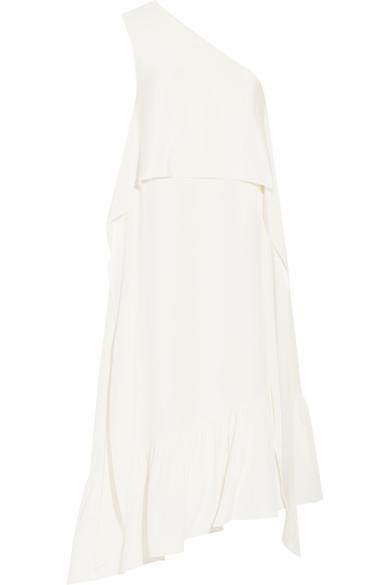 TIBI One-shoulder silk crepe de chine midi dress