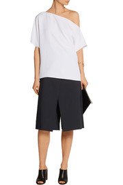 City layered stretch cotton-blend twill culottes