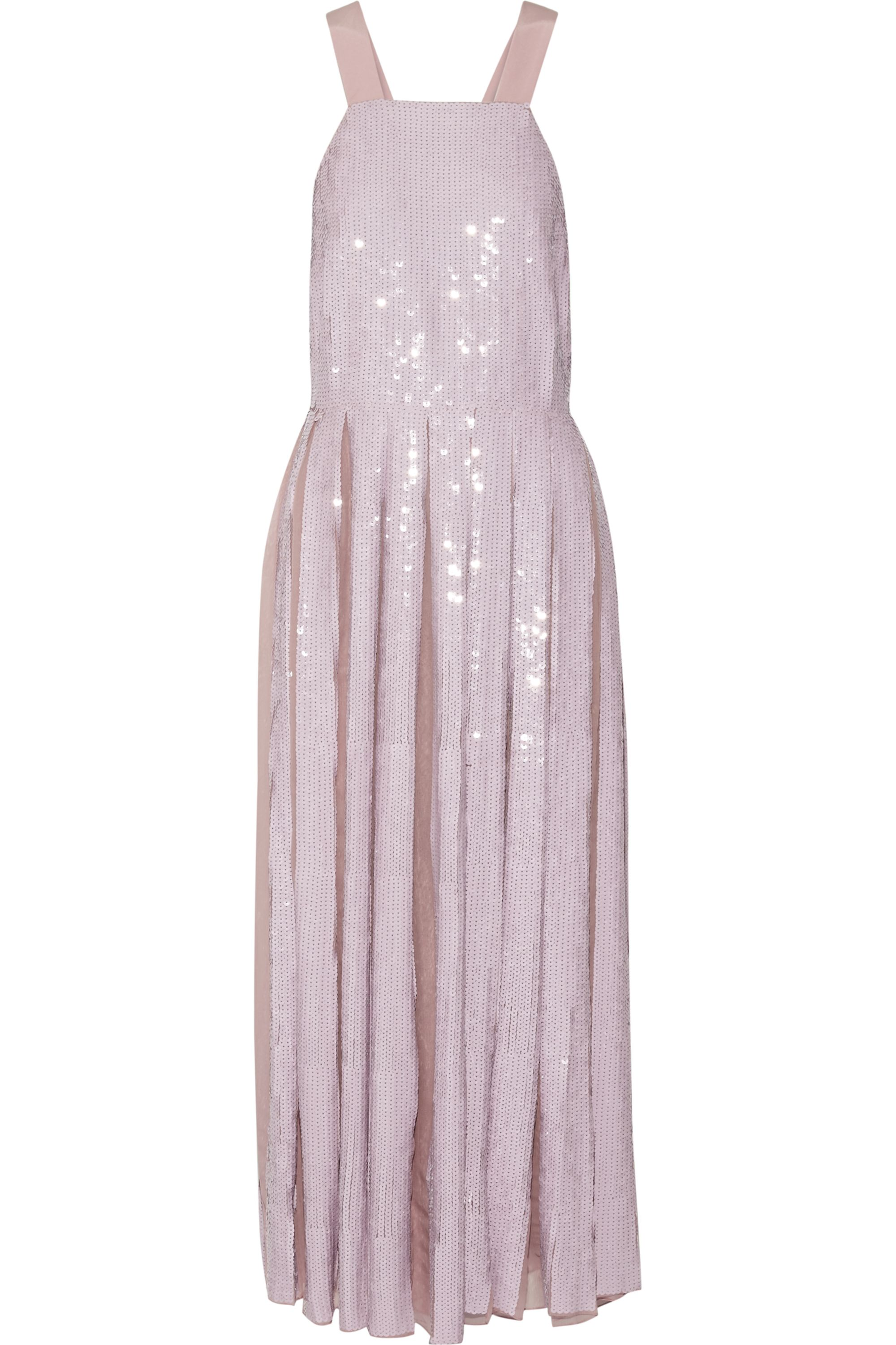 Tibi Éclair pleated sequined silk-georgette maxi dress