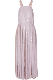 Éclair pleated sequined silk-georgette maxi dress