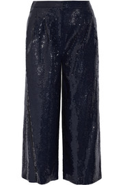 Nerd cropped sequined crepe wide-leg pants