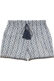 Bead-trimmed printed cotton and silk-blend shorts