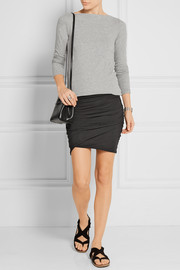 James Perse Ruched stretch-cotton mini skirt