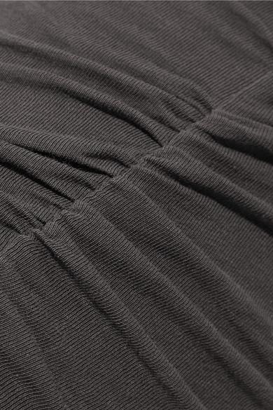 Ruched stretch-cotton jersey midi dress