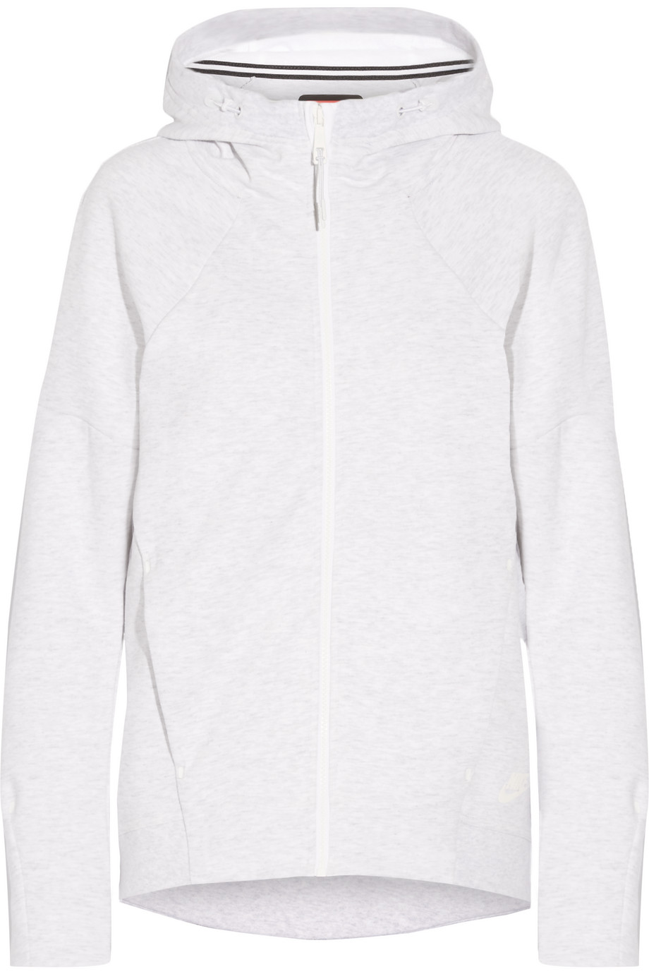 Nike Tech Fleece Cotton-Blend Jersey Hooded Top, White, Women's, Size: XS