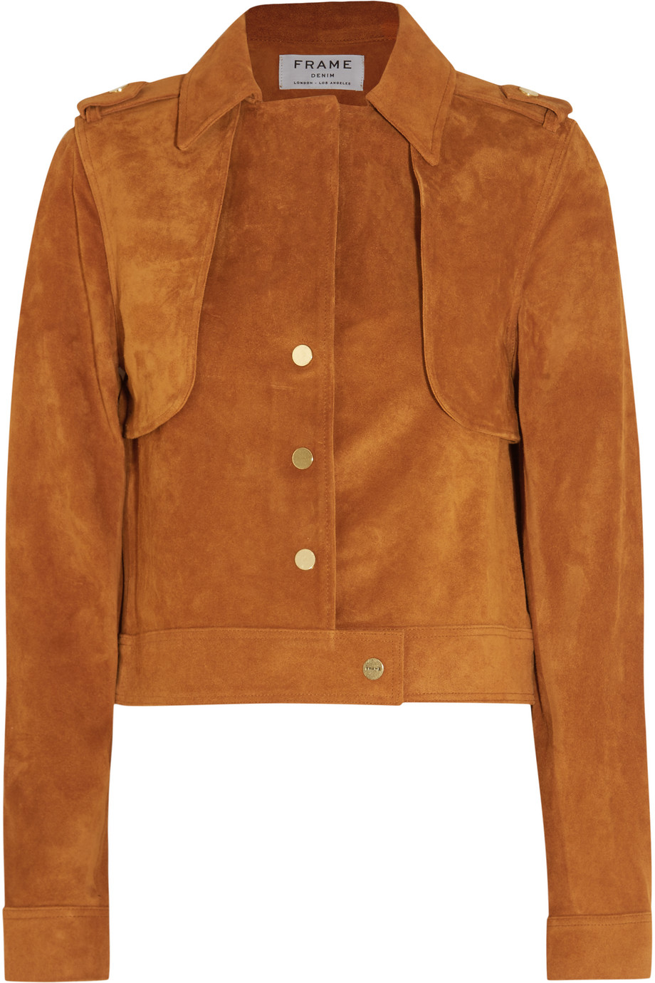 Frame Denim Le Cropped Trench Suede Jacket, Tan, Women's, Size: XS