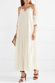 Off-the-shoulder pleated guipure lace-trimmed chiffon gown