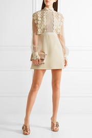 Guipure lace, crepe and tulle mini dress