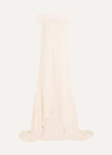 Self-Portrait Bardot Robe aus Satin mit einem Besatz aus Guipure-Spitze