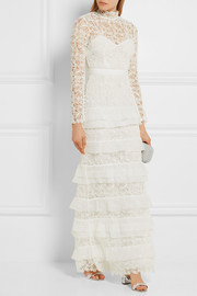Primrose crepon-trimmed guipure lace gown