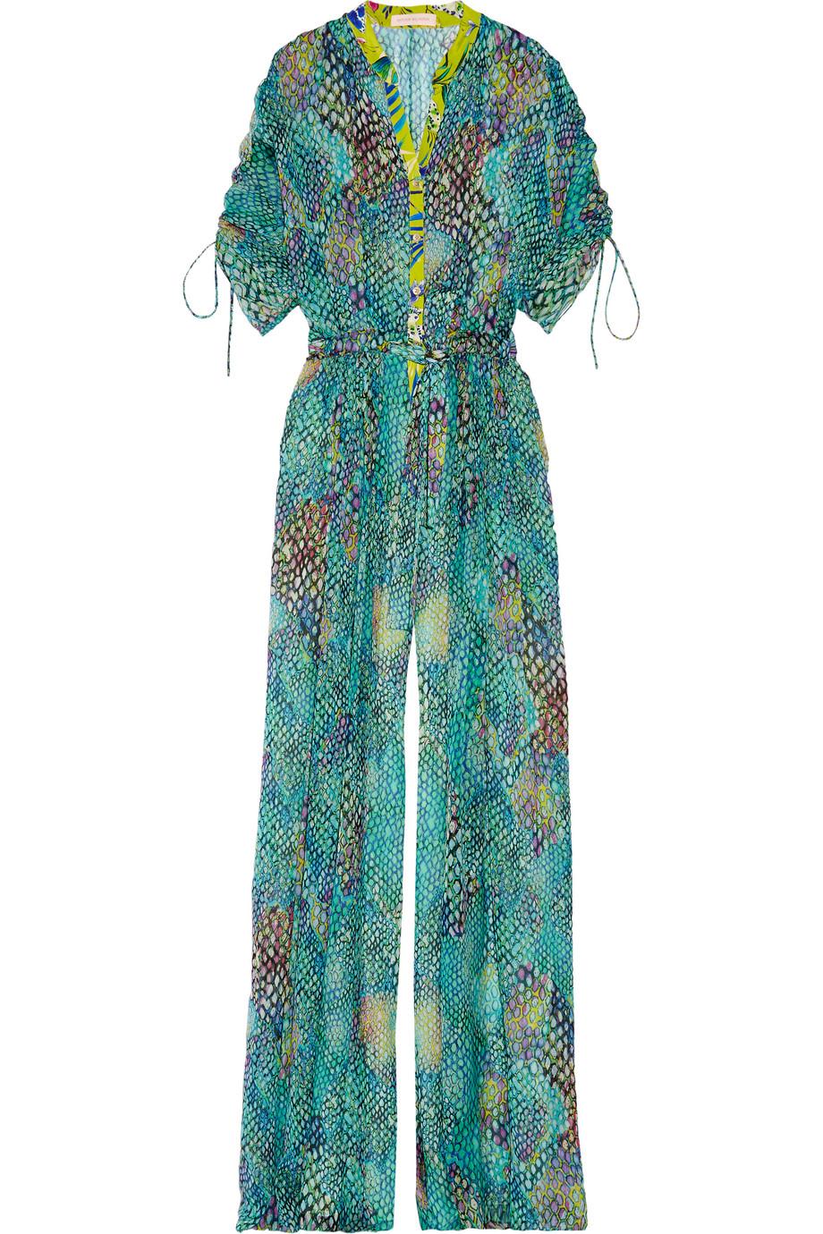 Printed Silk-Chiffon Jumpsuit, Matthew Williamson, Teal, Women's, Size: 8