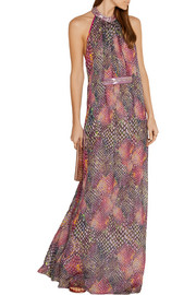Embellished printed silk-chiffon maxi dress