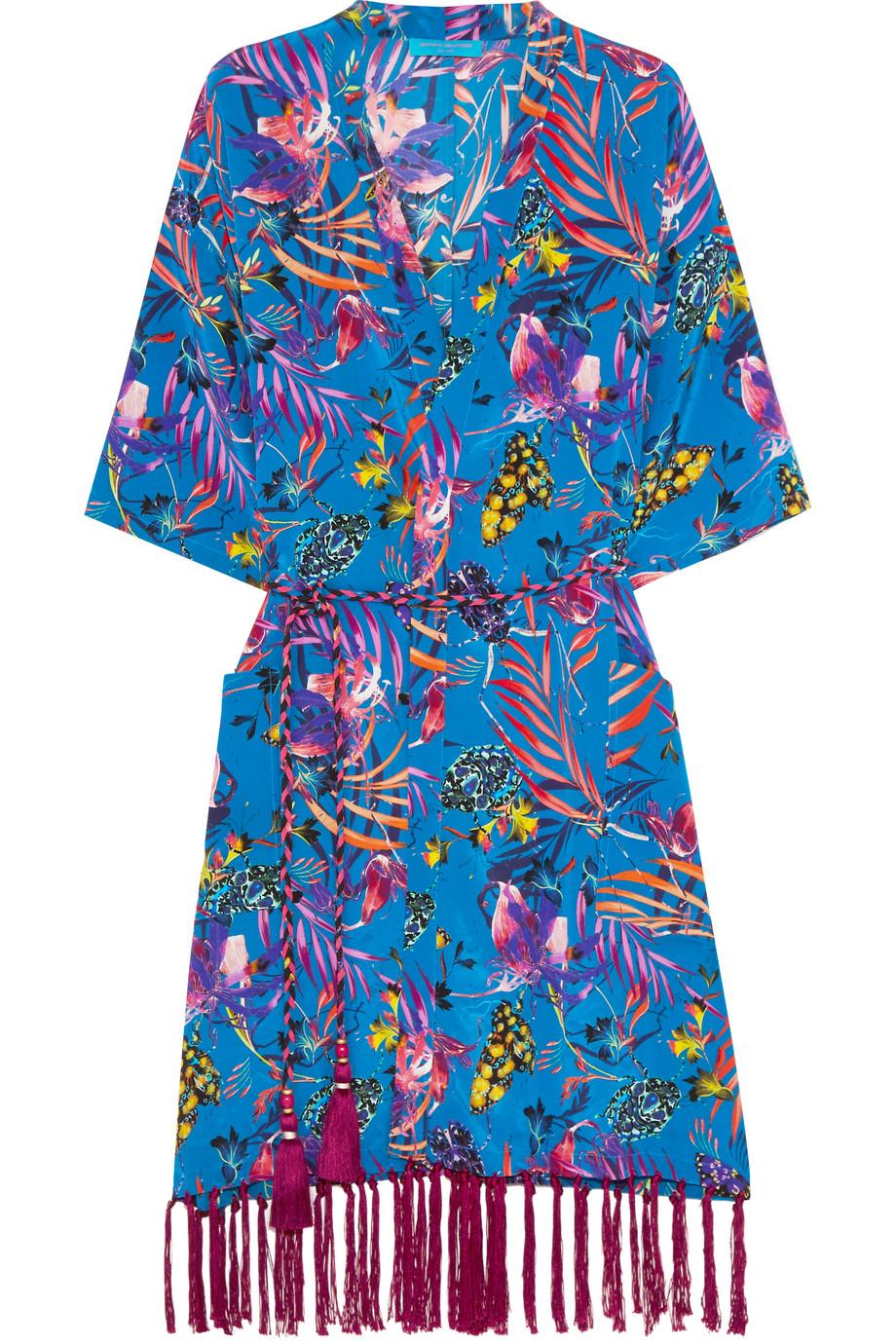 Tasseled Printed Silk Crepe De Chine Kimono, Matthew Williamson, Royal Blue, Women's, Size: 10