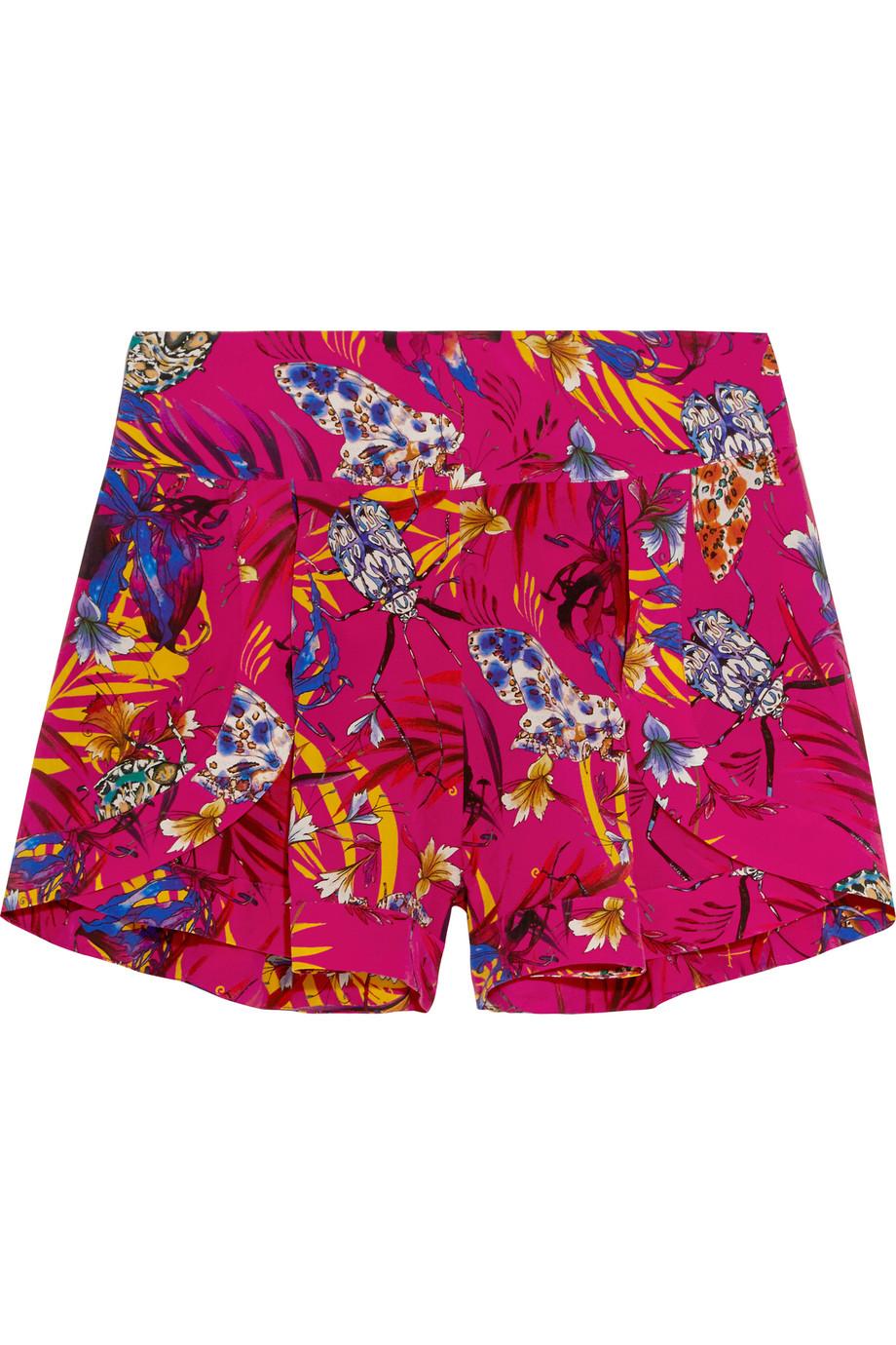 Printed Washed-Silk Shorts, Matthew Williamson, Bright Pink, Women's, Size: 8