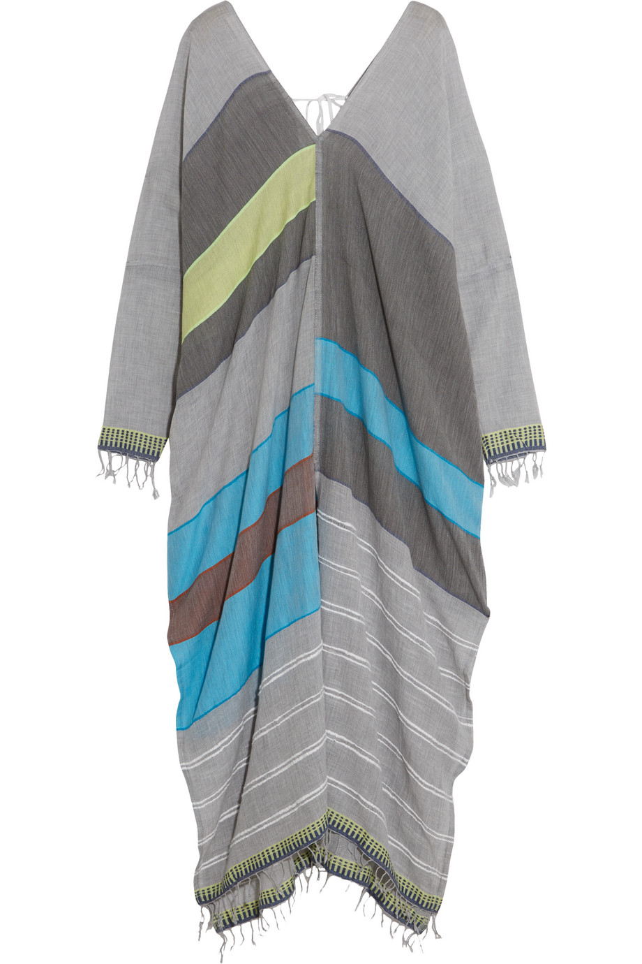 Lemlem Eve Cotton-Blend Kaftan, Gray/Blue, Women's, Size: S