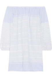 Almaz off-the-shoulder striped cotton-blend gauze mini dress