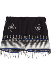 Wubit fringed embroidered cotton-blend shorts
