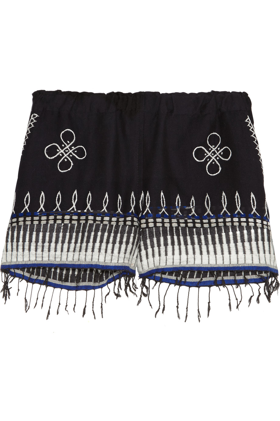 Lemlem Wubit Fringed Embroidered Cotton-Blend Shorts, Midnight Blue, Women's