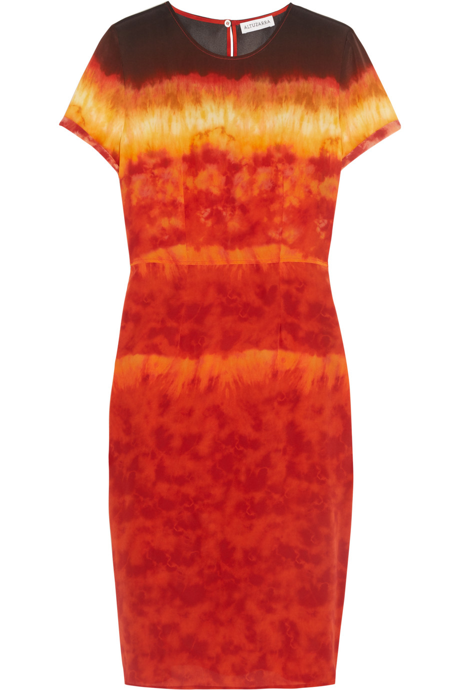 Altuzarra Glaze Tie-Dyed Silk-Satin Dress, Red/Orange, Women's, Size: 40