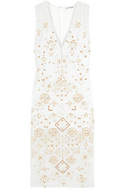 Pamplona embellished silk chiffon-paneled broderie anglaise cotton and silk-blend dress
