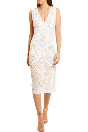 Altuzarra Pamplona embellished silk chiffon-paneled broderie anglaise cotton and silk-blend dress