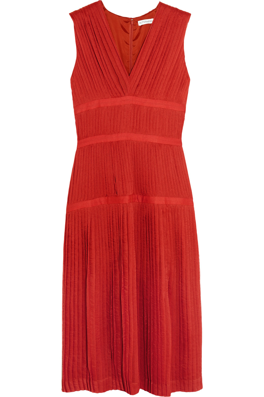 Altuzarra Mari Pleated Gauze Dress, Red, Women's, Size: 38